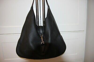 GUCCI BLACK PEBBLED LEATHER JACKIE-O HOBO BAG, MODEL 362968
