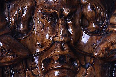 19C Venetian Carved Walnut Demon/Satyr/Faun/Cherub/Gargoyle Fantasy Wall Mirror