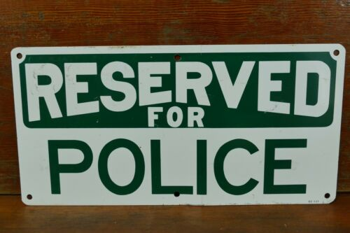 "Vintage Original ""Reserved For Police"" Metal Parking Road Sign - Green & White"