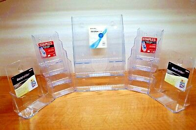 Deflecto Staples Brochure Office Max 3-tier Magazine Display Stand Lot Of 5