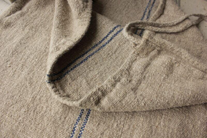 GRAIN SACK PUTTY gray ground vintage grainsack linen European Fabric feed bag