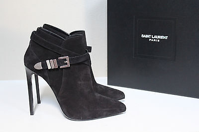 New 10 40 Saint Laurent Black Suede Classic Point Toe Paris Ankle boot Shoes