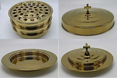 Brasstone-3 stainless steel communion trays with 1 lid and 2 bread tray set