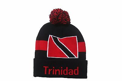 TRINIDAD COUNTRY FLAG BLACK TOQUE HAT WITH POM POM .. NEW ()