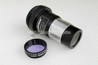 "Celestron 1.25"" 2x barlow lens / t-adapter + Moon filter for telescope eyepiece"