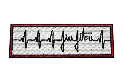 Jiu Jitsu BJJ Gi Patch HEARTBEAT PULSE Jiu Jitsu Gift IRON-ON Stocking Stuffer