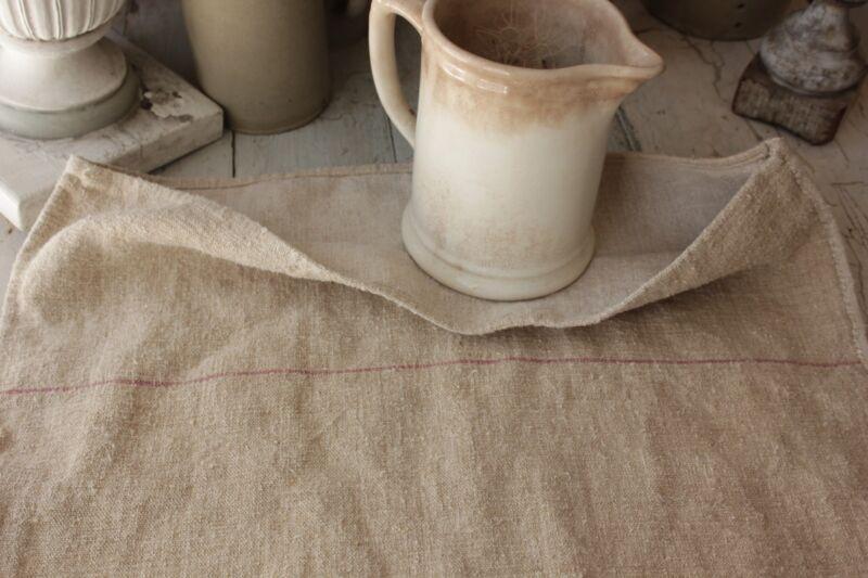 GRAINSACK hemp grain sack hemp linen 23 WIDE warm straw PINK + red stripes