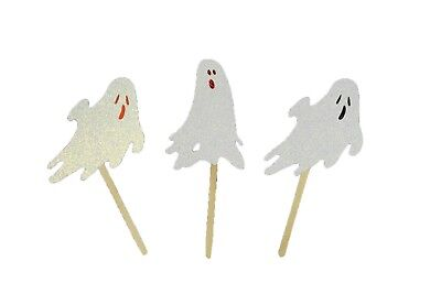 """Iridescent GLITTER GHOST Halloween Cupcake Topper Pick 2.5"""" Tall Choose package  - Halloween Cupcakes Ghost"""
