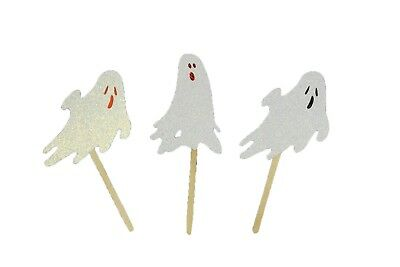 "Iridescent GLITTER GHOST Halloween Cupcake Topper Pick 2.5"" Tall Choose package"