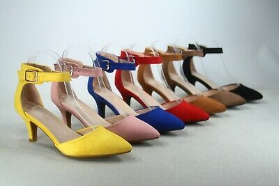 NEW Women's Pointed Toe Ankle Strap Buckle Stiletto Low Heel  Pumps 5 - 10 Size