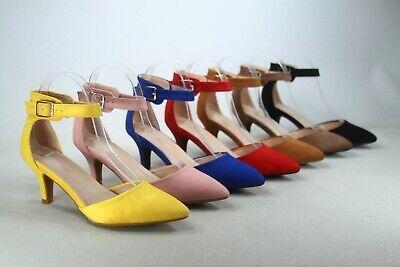 NEW Women's Pointed Toe Ankle Strap Buckle Stiletto Low Heel  Pumps 5 - 10 - 5 Heel
