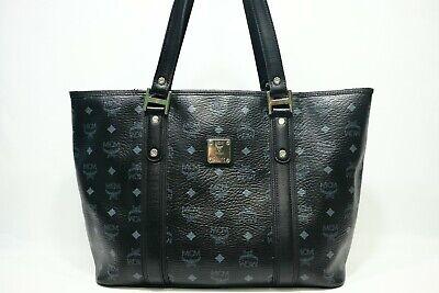 100% Authentic MCM Black Visetos Shopper Shoulder Bag