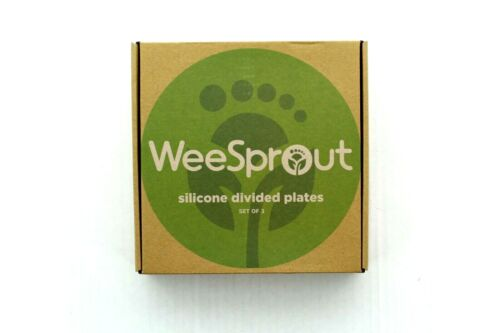 WeeSprout Toddlers Plates Divided Silicone, Stain Odor Bacteria Resistant, 3 Pc