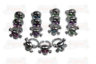 36 Plastic Skull Rings With Colored Eyes - Plastic Skull Rings