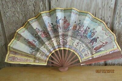 Vintage Paper Fan The French Bazaar Colon Victorian Jean Palomera Stamped