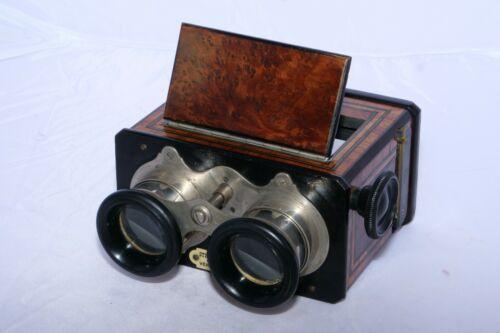 Jules RICHARD VERASCOPE 45x107MM STEREOSCOPE BURL WOOD Stereo Slide VIEWER