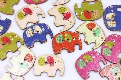 Elephant Wooden Buttons Mixed Colors Animal Shaped Two Holes Flat DIY 28mm 20pcs