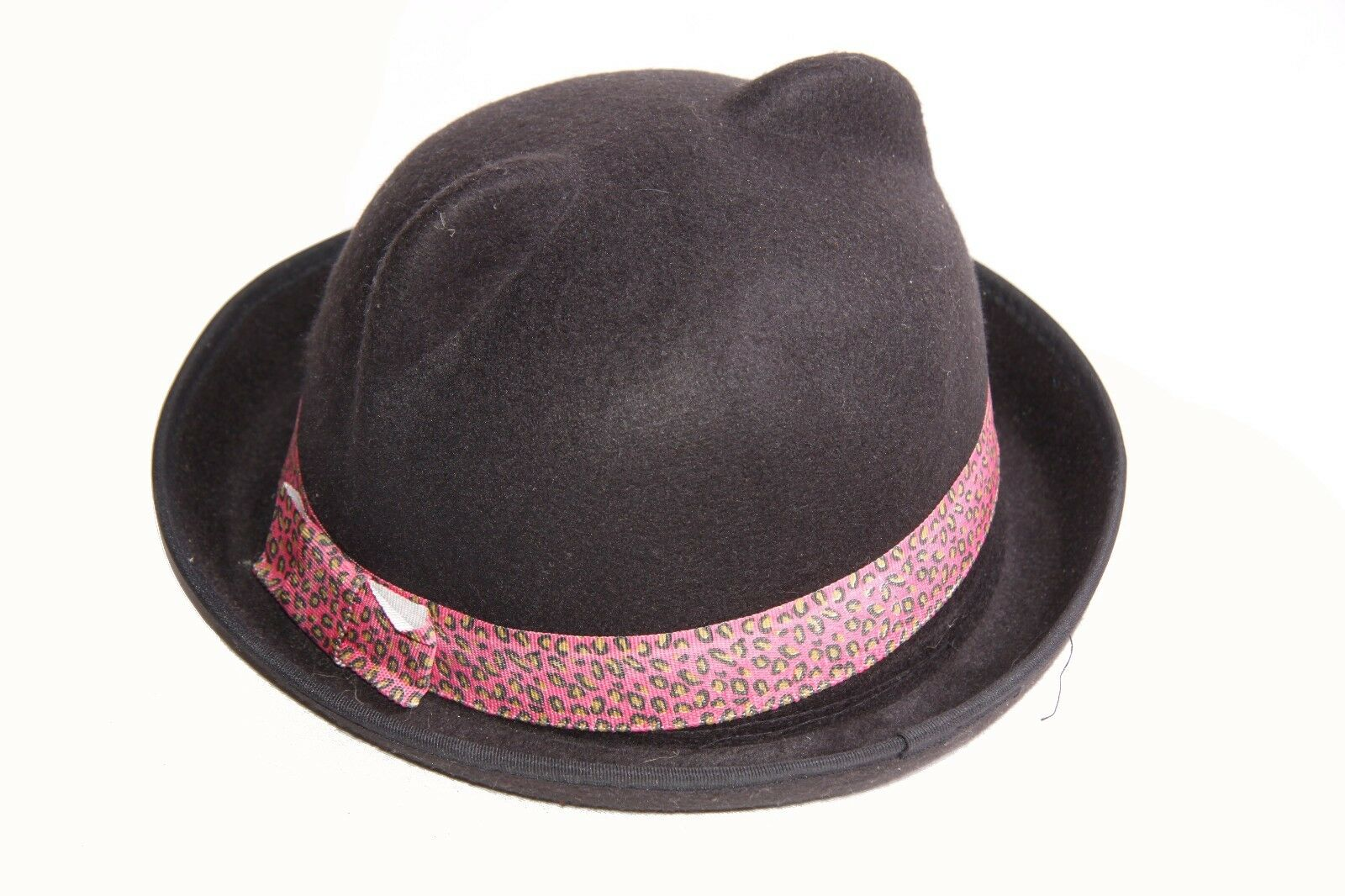 Ladies Black Cute Artsy Retro Bowler Hipster Round Ear Hat Pink Band (s247) 5d99532dcd7