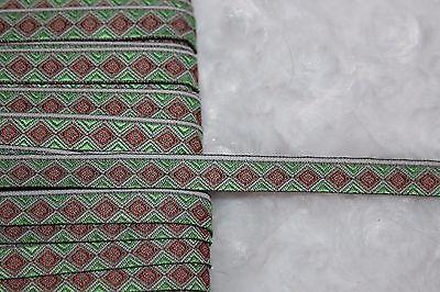 $1 yard mint green rust diamond jacquard woven sewing ribbon Trim 3/8