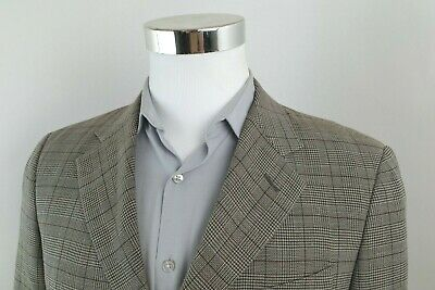 Armani Collezioni Gray Brown Glen Plaid 3 Button Sport Coat Blazer Mens 40 S