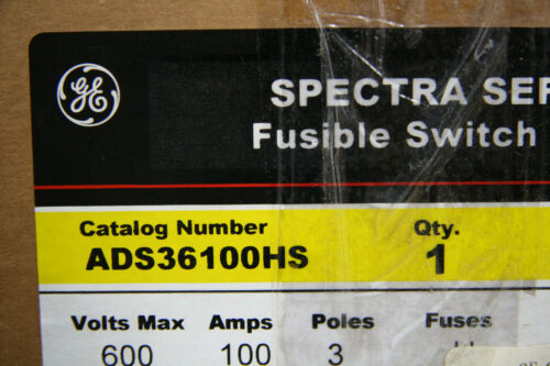 Ge Ads36100hs Spectra Fusible Panelboard Switch 100a 600v 3 Pole 3ph New In Box