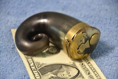 Antique Scottish Brass Mounted Rams Horn Snuff Box Thistle Early 19th Century