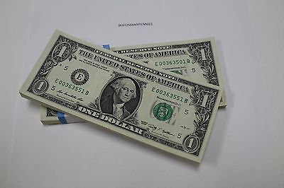 50 New Uncirculated  1 One Dollar Bills From Bep Pack