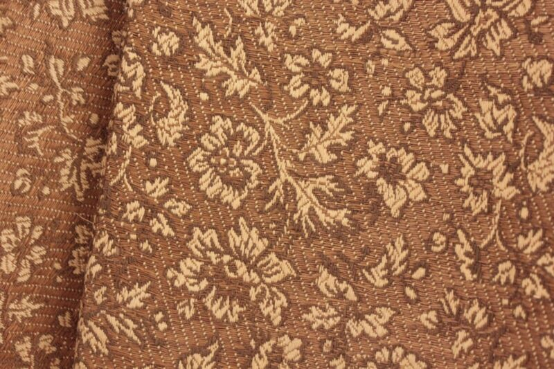 Woven French fabric c 1890 heavy weight cotton floral brown neutral upholstery