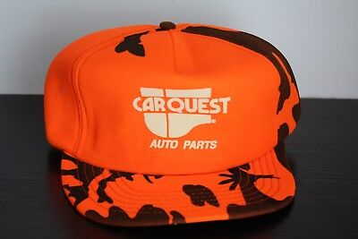 Vtg Carquest Auto Parts Snapback Hat Orange Camo Hunter Made Usa Rare Mechanic