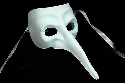 Mens Halloween Masquerade Mask White BLACK Pantalone LONG NOSE Thief Lord Mask