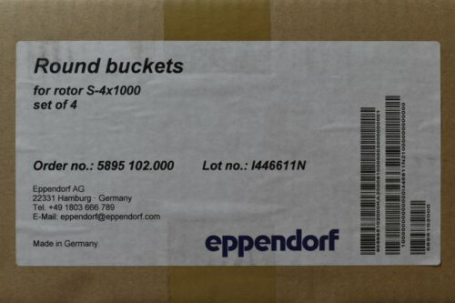 [Pack of 4] Eppendorf 5895 102.000 Centrifuge Round Buckets for Rotor S-4x1000