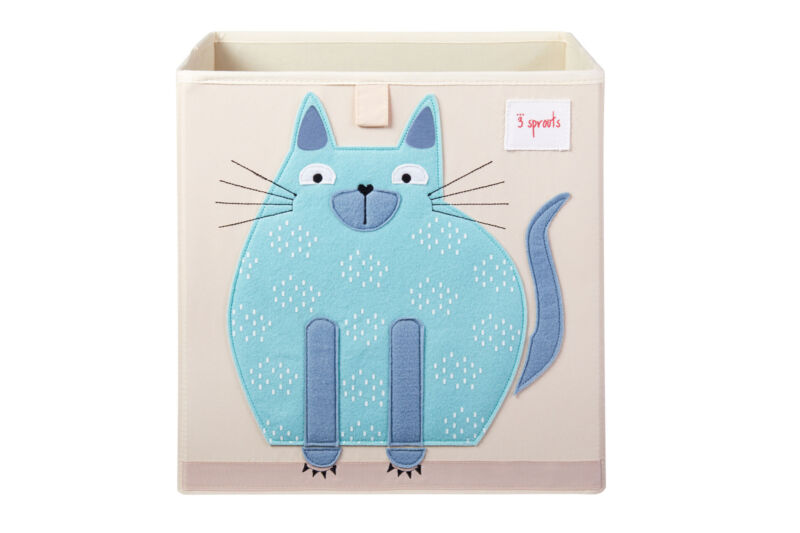 3 Sprouts Cube Storage Box - Organizer Container for Kids & Toddlers, Cat
