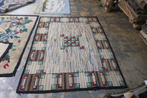 Antique American Primitive Wool on Burlap Hand Hooked Rug 4