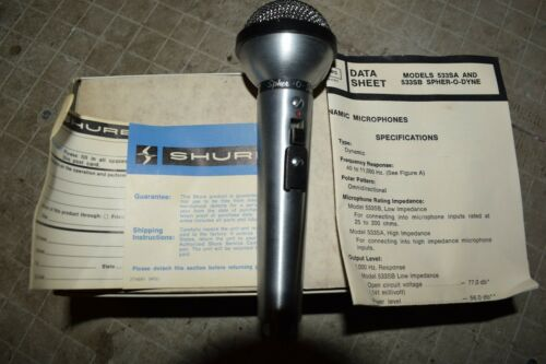 Vintage NOS SHURE SPHER-O-DYNE 533SB OMNIDIRECTIONAL DYNAMIC Mic Microphone