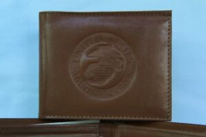 United States Marine Corps USMC (Marines) Leather BiFold Wallet  NEW  lt brown 4