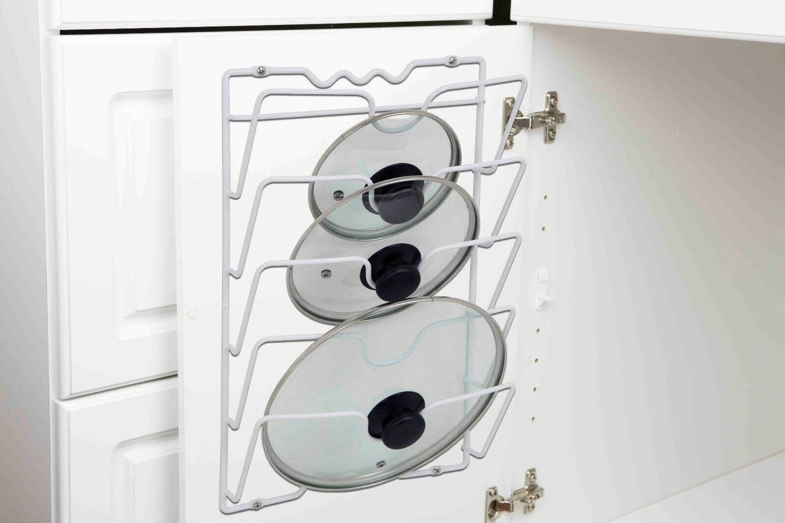 Home Basics NEW Vinyl White Wall or Cabinet Mount Lid Rack O
