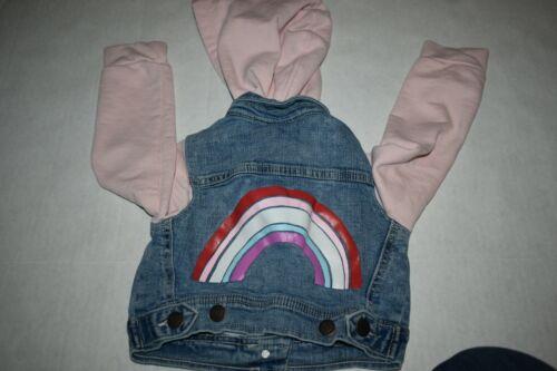 Rainbow Graphic Hooded Denim Jacket Girls Size 2