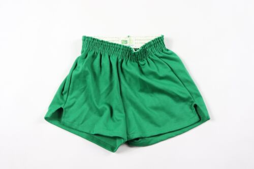 Vintage 70s New Pele Youth Medium 50/50 Gym Athletic Soccer Shorts Solid Green