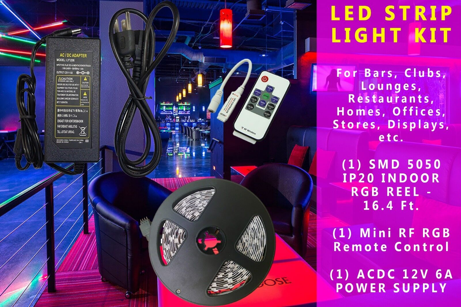 5M SMD 5050 300 LEDs RGB White Under Cabinet LED Strip Light