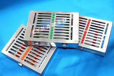 3 Heavy Duty Dental Autoclave Sterilization Cassette Box Tray For 10 Instrument