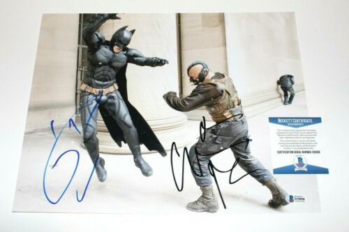 'THE DARK KNIGHT RISES' TOM HARDY CHRISTIAN BALE SIGNED 11x14 PHOTO BECKETT COA