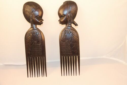 Vtg. Set of African Ebony Carved Wood Hair Combs