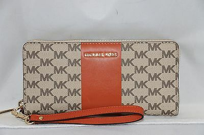 Michael Kors Signature Center Stripe Jet Set Travel Continental Wallet - Orange