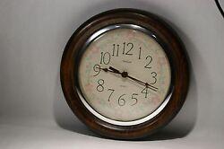 Rare Vintage SUNBEAM 11'' Round Quartz Wood Case Wall Clock.