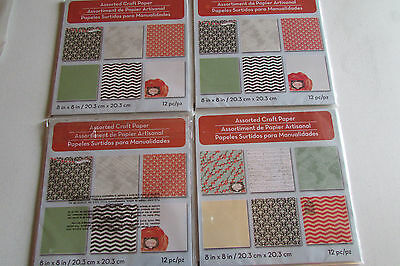 NIP Lot of 4 Packs of 12 8x8 Piece Assorted Craft Paper By Michaels - Michaels Craft Paper