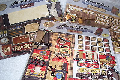 ALMOST DONE SCRAPBOOK PAGE KIT SCHOOL / AUTUMN - THANKSGIVING AND VACATION, (Almost Done Kit)