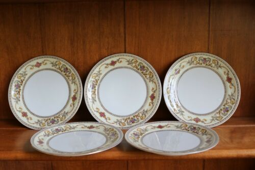 "5 ANTIQUE MEITO IVORY CHINA OCCUPIED JAPAN BREAD BUTTER PLATES 6 1/4"" ACROSS"