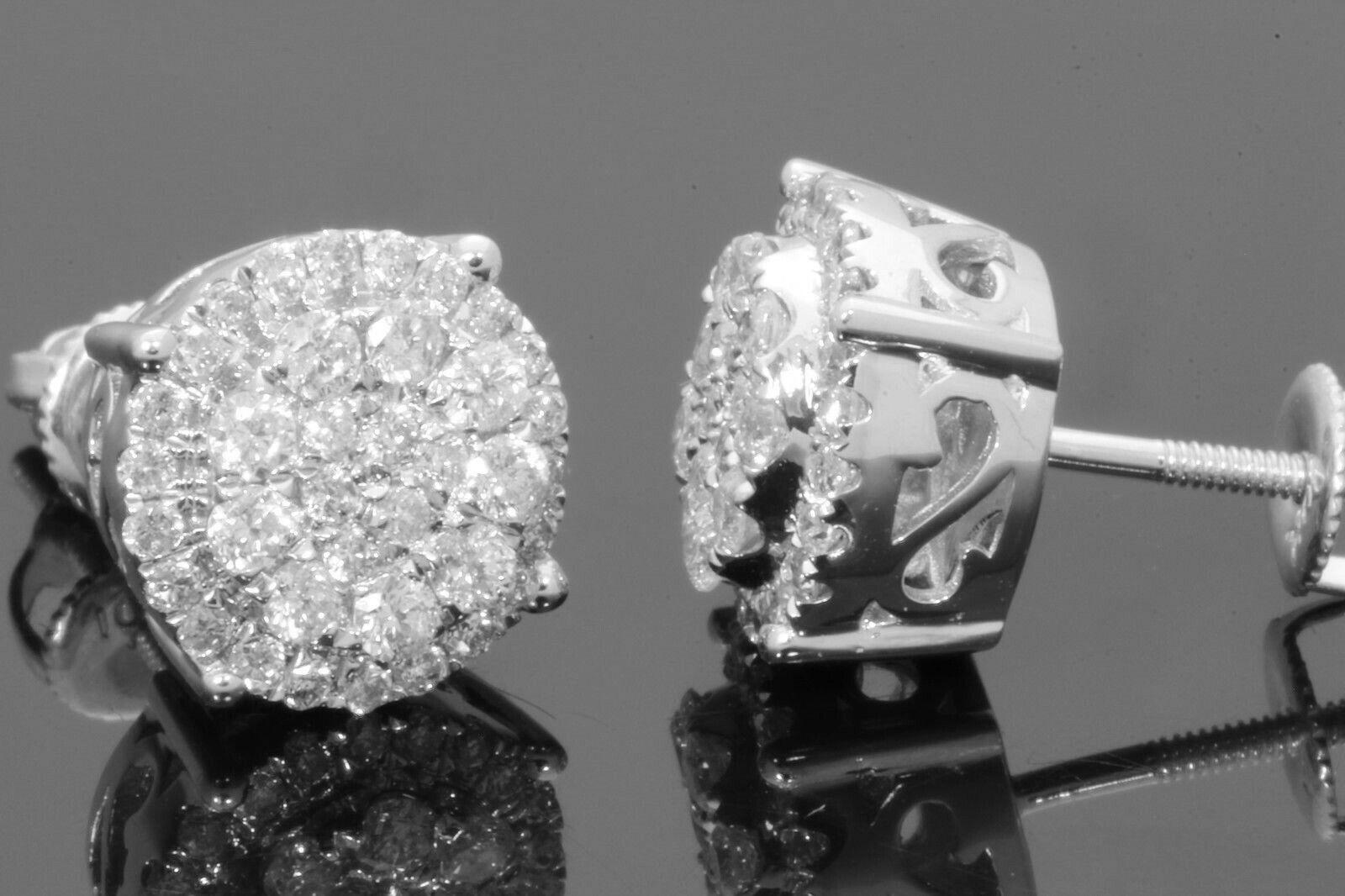 10K WHITE GOLD 1.03 CARAT MENS/WOMENS 10mm REAL GENUINE DIAMONDS EARRING STUDS