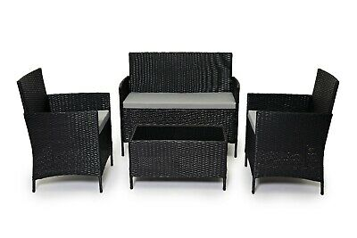 Evre Madrid Outdoor Garden 4 Piece Furniture Set Conservatory Patio Lounge Black
