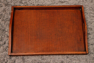 Antique Wooden Tray with Gallery and Handles 17x11.75 inches needs little TLC